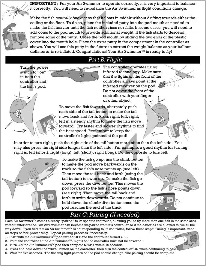 Air Swimmer Shark Instructions 3