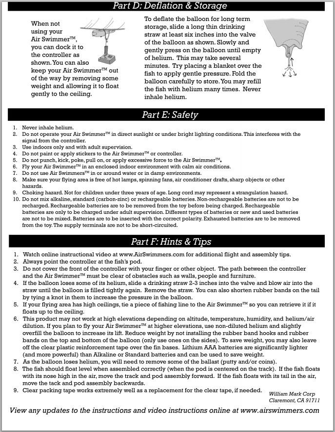 Air Swimmer Shark Instructions 4