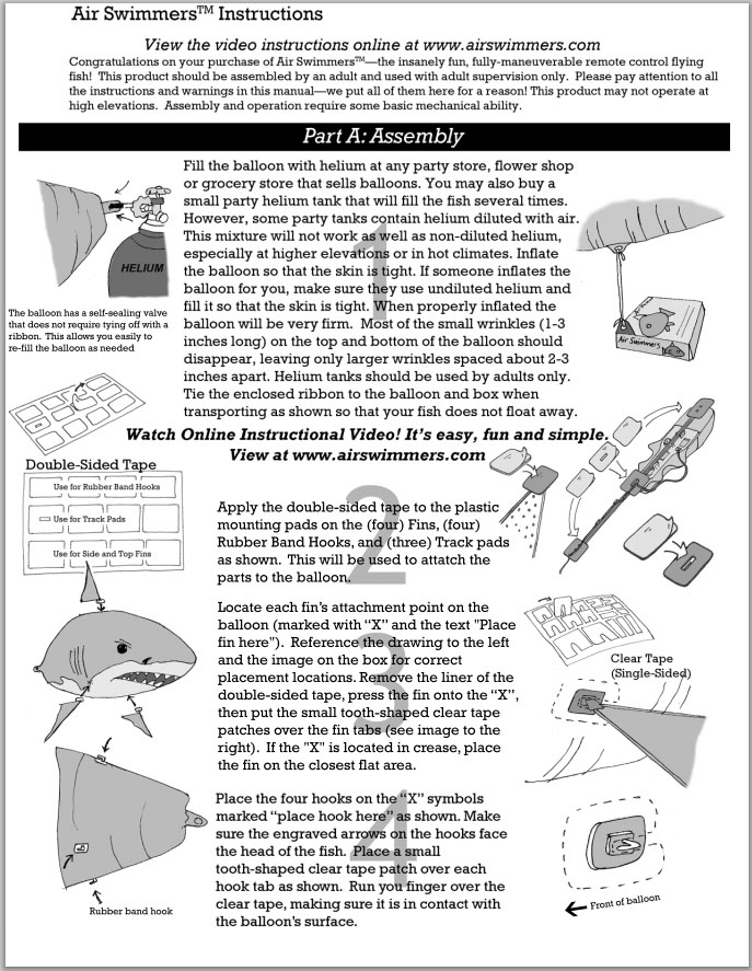 Air Swimmer Shark Instructions